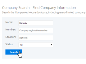 Company search screenshot